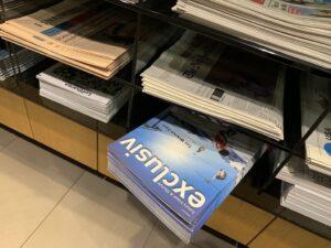 nur an ausgewählten plätzen zu finden: magazin exclusiv in der firstclass lounge der lufthansa