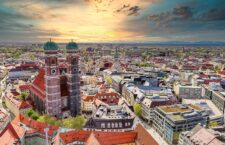 Munich Sunset Aerial view, Bavaria - Germany